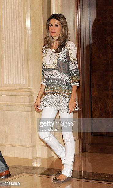 Princess Letizia of Spain attends an audience at Zarzuela Palace on July 13 2010 in Madrid Spain
