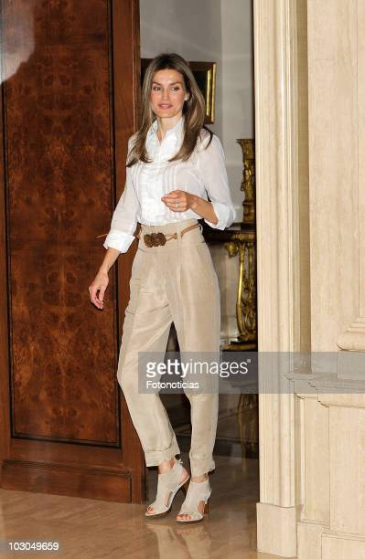 Princess Letizia of Spain attends an audience at Zarzuela Palace on July 23 2010 in Madrid Spain