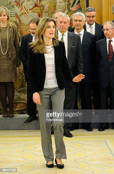 Princess Letizia of Spain attends an audience at Zarzuela Palace on April 14 2010 in Madrid Spain