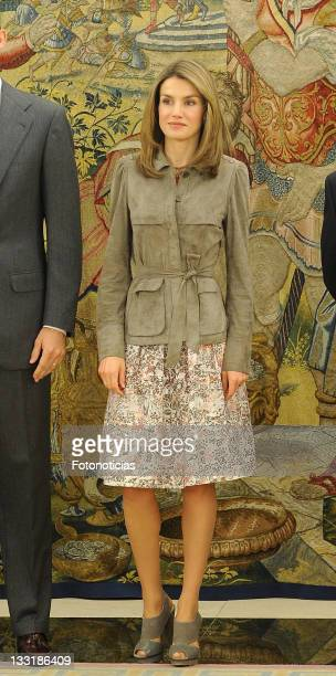 Princess Letizia of Spain attends an audience with officials at Zarzuela Palace on April 14 2009 in Madrid Spain