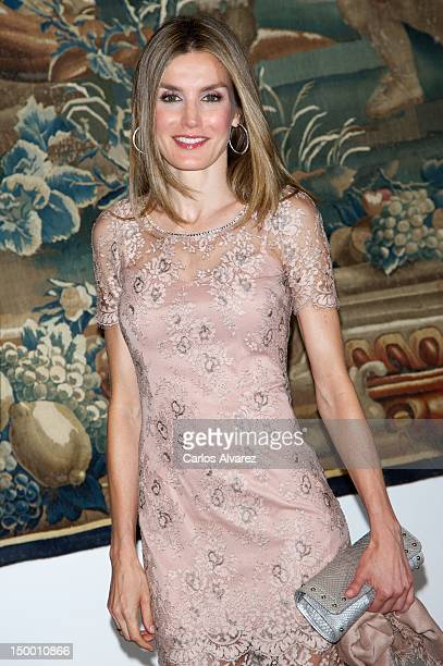 Princess Letizia of Spain attends an official dinner at Almudaina Palace on August 8 2012 in Palma de Mallorca Spain