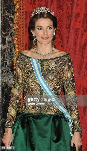 Princess Letizia of Spain attends an official dinner in honour of Russian President Vladimir Putin at the Royal Palace on February 8 2006 in Madrid...