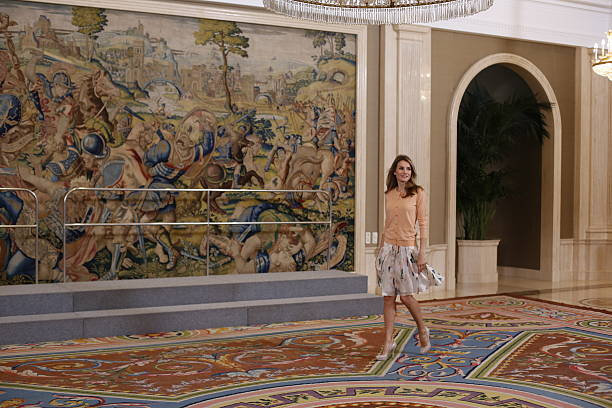 princess letizia of spain attends audiences in zarzuela palaceの写真