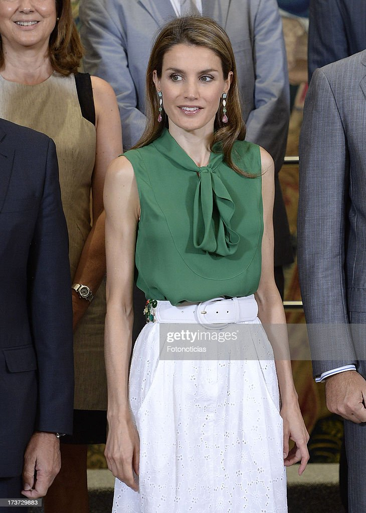 Princess Letizia of Spain attends audiences at Zarzuela Palace on July 17, 2013 in Madrid, Spain.