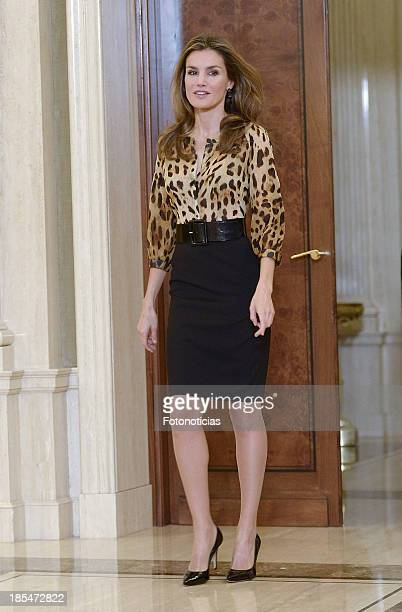 Princess Letizia of Spain attends Audiences at Zarzuela Palace on October 21 2013 in Madrid Spain