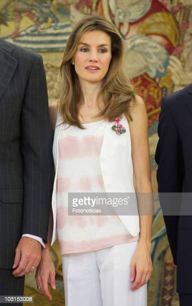 Princess Letizia of Spain attends audiences at Zarzuela Palace on July 29 2010 in Madrid Spain