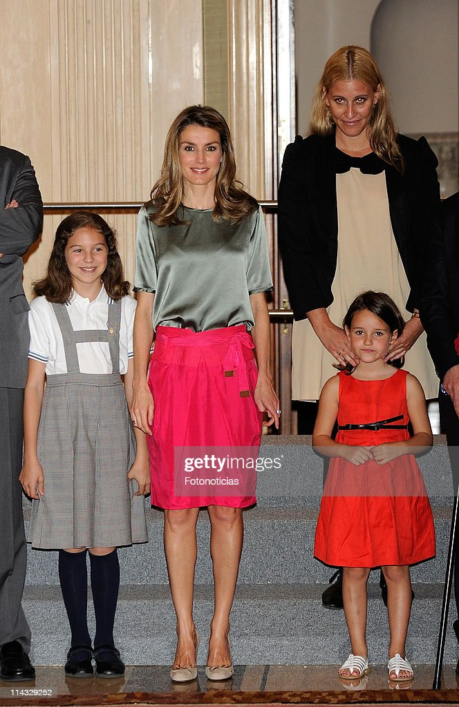 Princess Letizia of Spain (C) attends audiences at Zarzuela Palace on May 18, 2011 in Madrid, Spain.