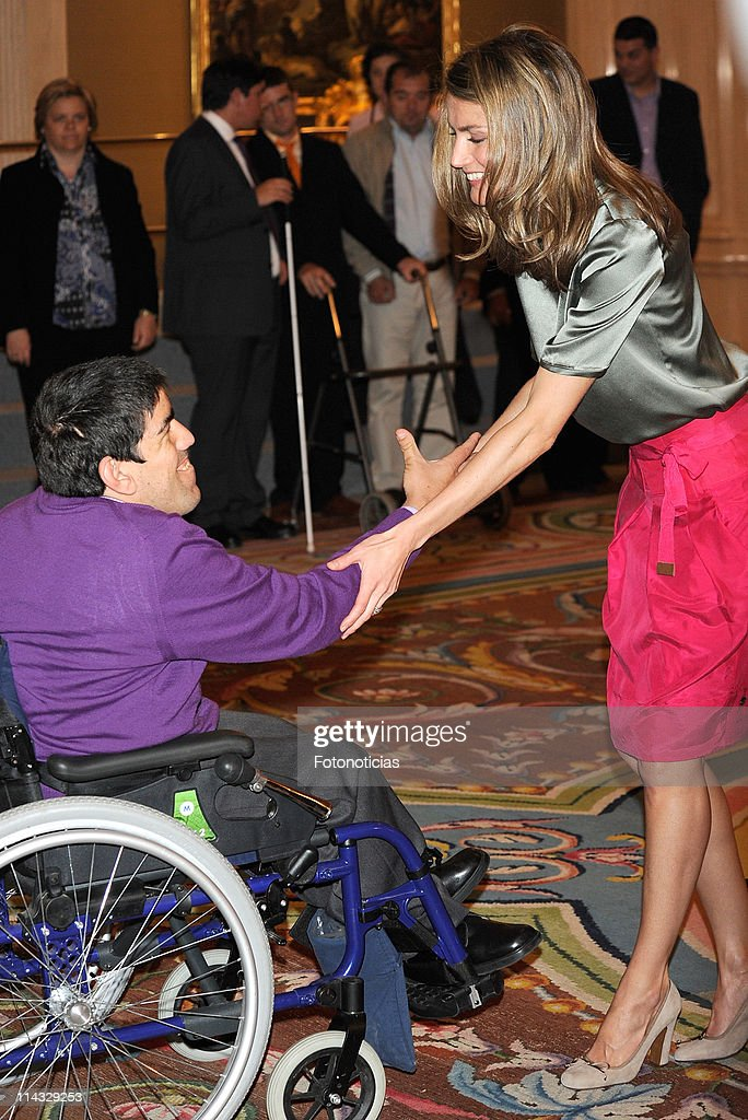 Princess Letizia of Spain (R) attends audiences at Zarzuela Palace on May 18, 2011 in Madrid, Spain.