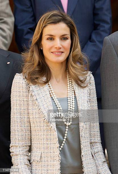 Princess Letizia of Spain attends audiences at Zarzuela Palace on May 26 2011 in Madrid Spain