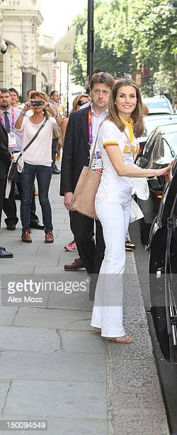Princess Letizia of Spain attends Casa Espana at The Harrington Hotel in Kensington at on August 10 2012 in London England