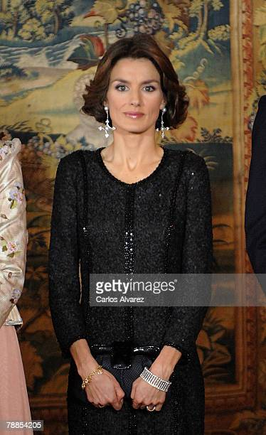 Princess Letizia of Spain attends King Juan Carlos 70th Birthday Gala Dinner on January 09 2008 at the El Pardo Palace near of Madrid
