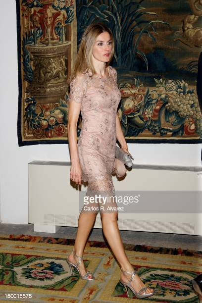 Princess Letizia of Spain attends official dinner at Almudaina Palace on August 8 2012 in Palma de Mallorca Spain