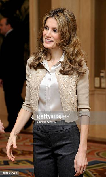 Princess Letizia of Spain attends several audiences at Zarzuela Palace on January 31, 2011 in Madrid, Spain.