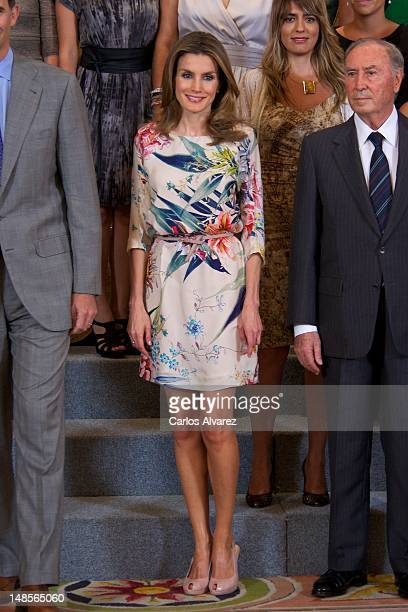 Princess Letizia of Spain attends several audiences at Zarzuela Palace on July 18 2012 in Madrid Spain
