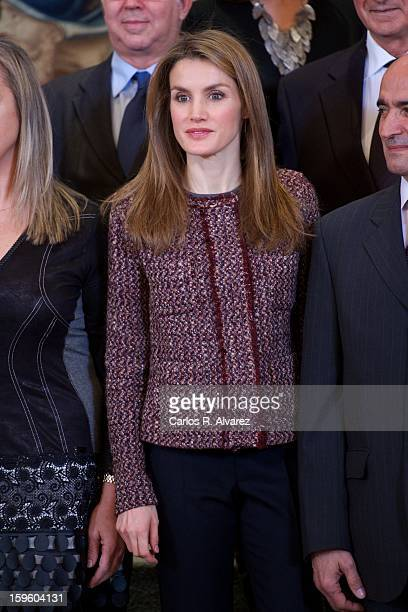 Princess Letizia of Spain attends several audiences at Zarzuela Palace on January 17 2013 in Madrid Spain