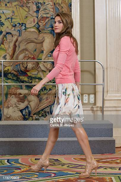 Princess Letizia of Spain attends several audiences at Zarzuela Palace on July 11 2013 in Madrid Spain