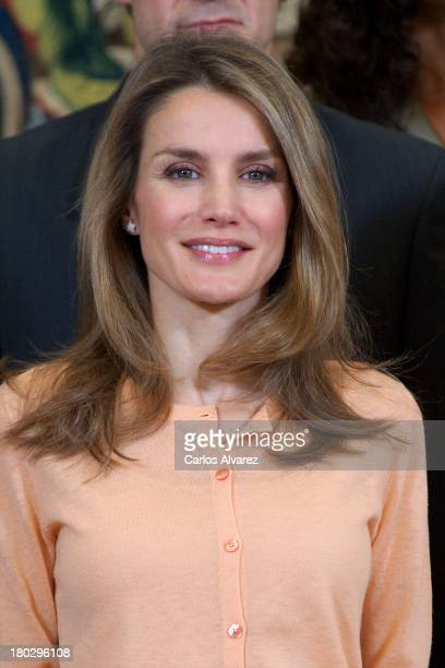 Princess Letizia of Spain attends several audiences at Zarzuela Palace on September 11, 2013 in Madrid, Spain.