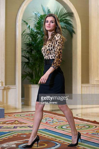 Princess Letizia of Spain attends several audiences at Zarzuela Palace on October 21 2013 in Madrid Spain