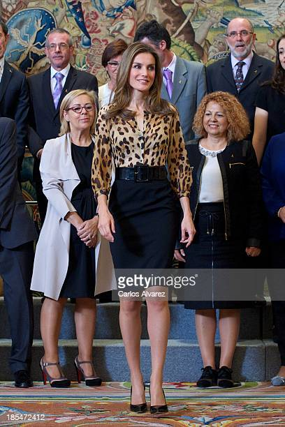 Princess Letizia of Spain attends several audiences at Zarzuela Palace on October 21, 2013 in Madrid, Spain.