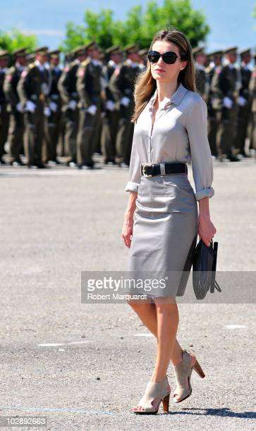 Princess Letizia of Spain attends the 35th graduation ceremony of the Spanish Military Officer Academy on July 14, 2010 in Talarn, Spain.