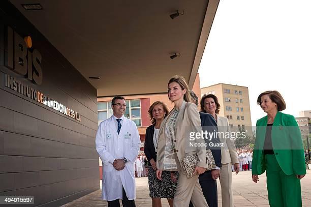Princess Letizia of Spain attends the AECC Scientific Foundation Annual Symposium with Manuel Gonzalez Suarez Manager of Virgen del Rocio Hospital...