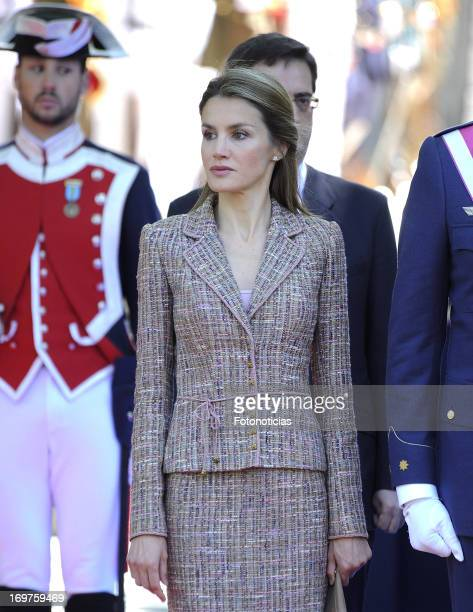 Princess Letizia of Spain attends the Armed Forces Day at Plaza de la Lealtad on June 1 2013 in Madrid Spain