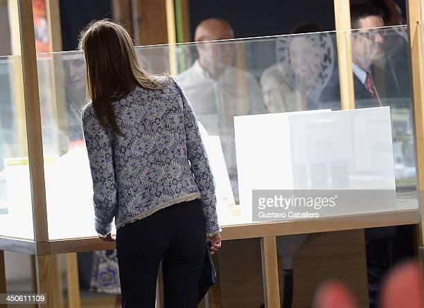 Princess Letizia of Spain attends the exhibition Tapas Spanish Design for Food on November 19 2013 in Miami Florida