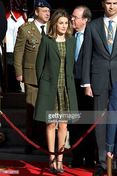 Princess Letizia of Spain attends the first Parliament session with the new government at the Spanish parliament building on December 27 2011 in...
