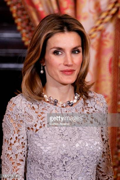 Princess Letizia of Spain attends the Gala Dinner in honour of Peruvian President Ollanta Humala at The Royal Palace on January 25 2012 in Madrid...