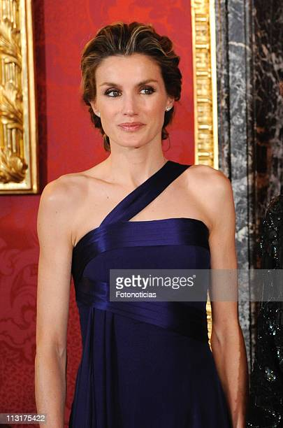 Princess Letizia of Spain attends the Gala Dinner in honour of the Emir of the State of Qatar and Sheikha Mozah Bint Nasser at The Royal Palace on...