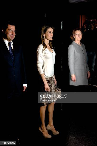 """Princess Letizia of Spain attends the launch of """"Mision 60 Aniversario"""" campaign against cancer at the Telefonica building on April 16, 2013 in..."""
