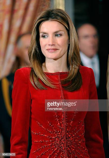 Princess Letizia of Spain attends the Military Pasques annual reception at The Royal Palace on January 6 2010 in Madrid Spain