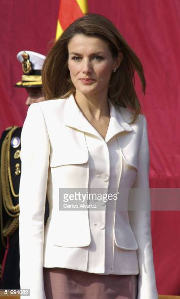 Princess Letizia of Spain attends the presentation of the Combat Flag to the Juan de Borbon Military Navy in Barcelona Harbour on November 7 2004 in...