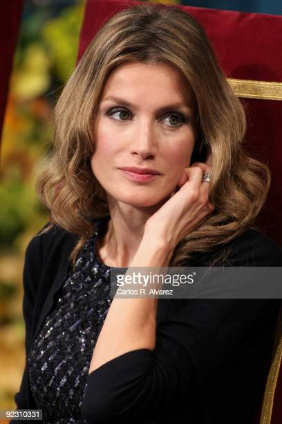 Princess Letizia of Spain attends the Prince of Asturias Awards 2009 ceremony at 'Campoamor' Theater on October 23 2009 in Oviedo Spain
