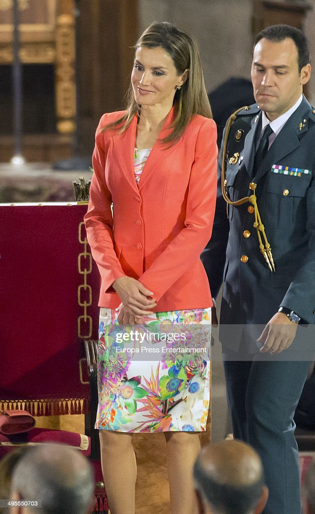 Princess Letizia of Spain attends the 'Principe de Viana' 2014 awards on June 4, 2014 in San Salvador de Leyre, Spain.