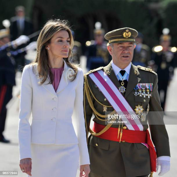 Princess Letizia of Spain attends the Royal Guards Flag Ceremony at the El Pardo Palace on April 10 2010 in Madrid Spain
