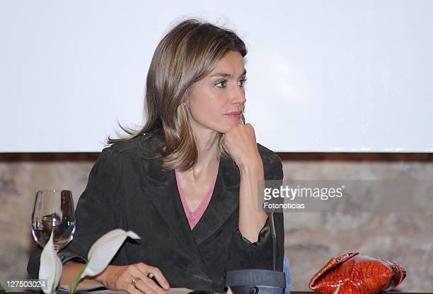 Princess Letizia of Spain attends the 'VI International Seminar of Language and Journalism' at Yuso Monastery on September 28 2011 in San Millan de...
