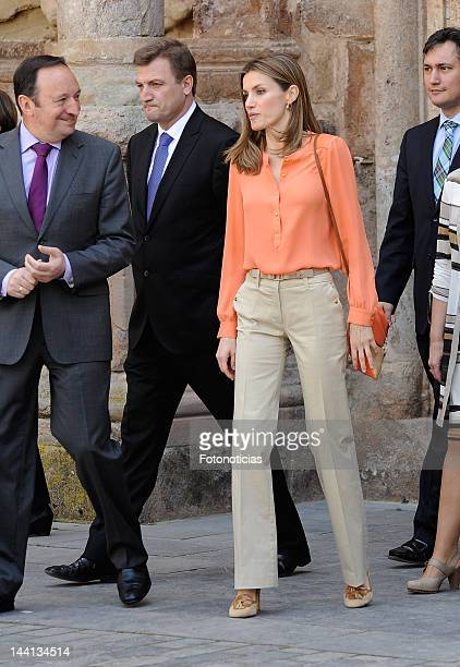 Princess Letizia of Spain attends the VII Seminar on Language and Journalism at the Monastery of Yuso on May 10 2012 in San Millan de la Cogolla Spain