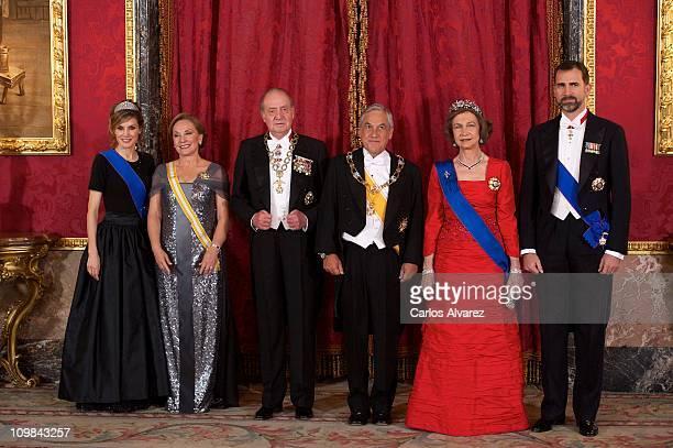 Princess Letizia of Spain Chile First Lady Cecilia Morel de Pinera King Juan Carlos of Spain Chile President Sebastian Pinera Queen Sofia of Spain...