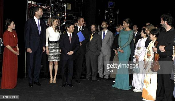 Princess Letizia of Spain Crown Prince Naruhito of Japan and Prince Felipe of Spain greet the performers who have participated in Inaugural Concert...