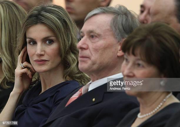 Princess Letizia of Spain German President Horst Koehler and first lady Eva Luise Koehler attend the Eva Luise and Horst Koehler Foundation for Rare...