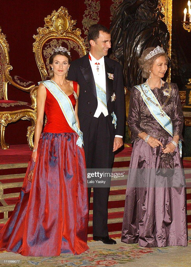Princess Letizia of Spain , H.R.H. Crown Prince Felipe and Queen Sofia of Spain