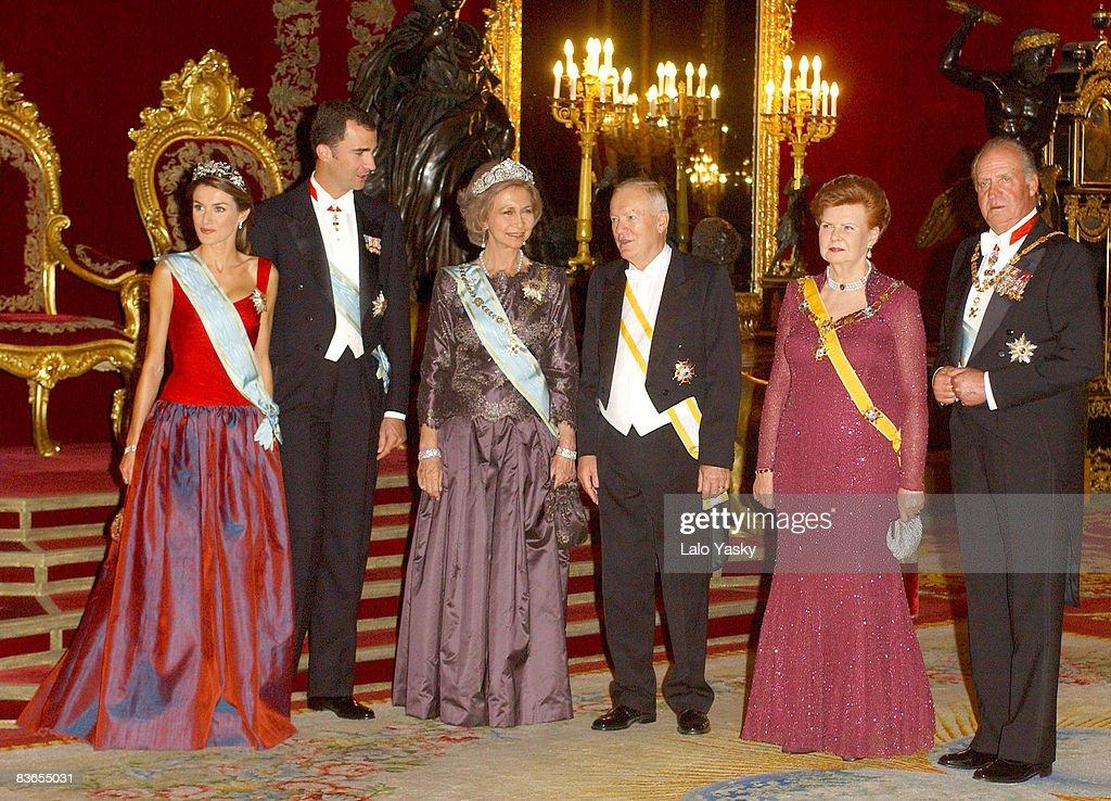 HRH Princess Letizia of Spain, HRH Crown Prince Felipe, HM Queen Sofia of Spain, Latvian President Vaira Vike-Freiberga, and HM King Juan Carlos of Spain