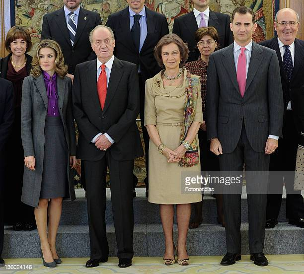 Princess Letizia of Spain King Juan Carlos of Spain Queen Sofia of Spain and Prince Felipe of Spain attend Audiences at Zarzuela Palace on December...