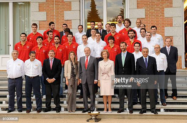 Princess Letizia of Spain King Juan Carlos of Spain Queen Sofia of Spain and Prince Felipe of Spain receive Spain's Basketball National team...