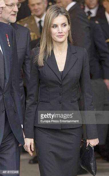 Princess Letizia of Spain leaves the state funeral ceremony for former Spanish prime minister Adolfo Suarez at the Almudena Cathedral on March 31...