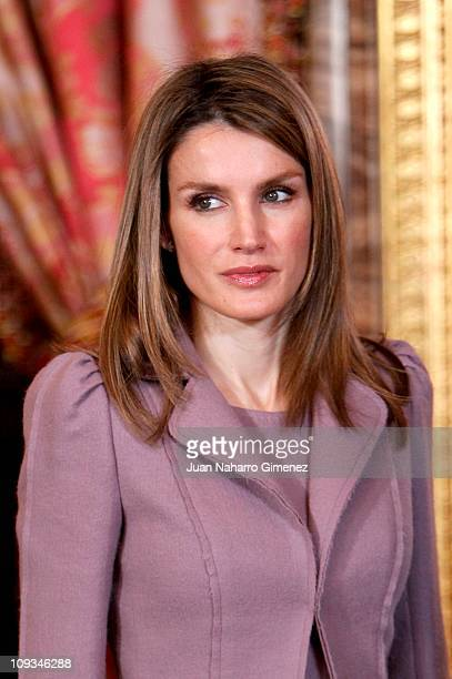 Princess Letizia of Spain poses before an official lunch meeting at the Royal Palace on February 22 2011 in Madrid Spain