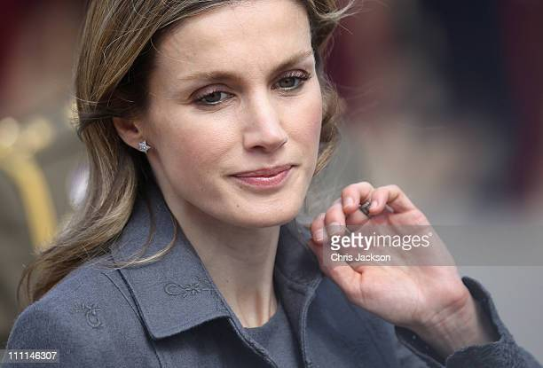 Princess Letizia of Spain poses for the cameras outside the Palacio Del Pardo on day one of a three day visit to Spain on March 30 2011 in Madrid...