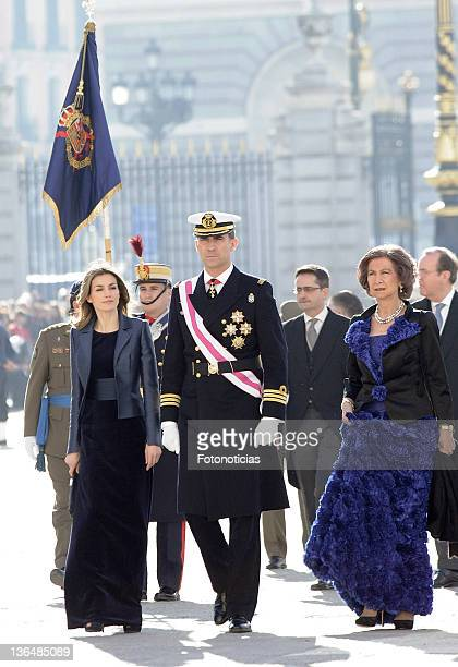 Princess Letizia of Spain, Prince Felipe of Spain and Queen Sofia of Spain attend the traditional 'Pascua Militar' ceremony at The Royal Palace on...