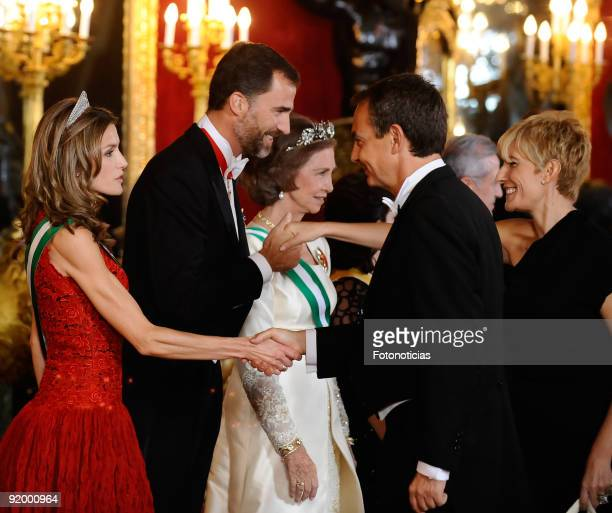 Princess Letizia of Spain Prince Felipe of Spain and Queen Sofia of Spain receive Prime Minister Jose Luis Rodriguez Zapatero and his wife Sonsoles...